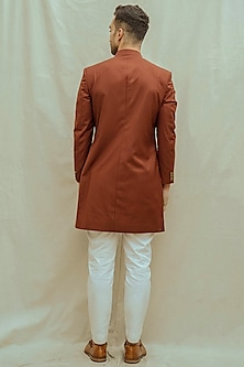 White Kurta Set With Rust Achkan Jacket by Bohame Men