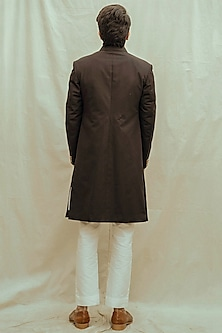 White Kurta Set With Black Achkan Jacket by Bohame Men