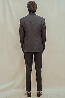 Blue & White Bandhgala Suit Set by Bohame Men