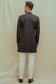 White Kurta Set With Blue Achkan Jacket by Bohame Men