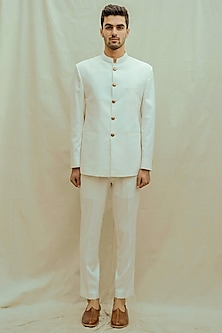 Off White & White Bandhgala Suit Set by Bohame Men