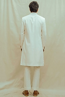 Off White Kurta Set With Achkan Jacket by Bohame Men