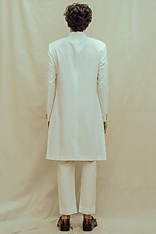 Off White Kurta Set With Achkan Jacket & Pocket Square by Bohame Men