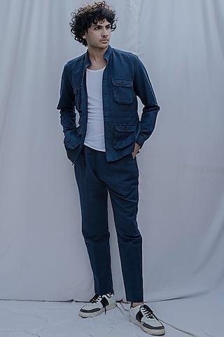 Navy Blue Jacket Set by Bohame Men
