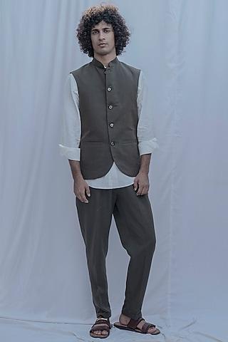 Grey Bandhgala Jacket Set by Bohame Men