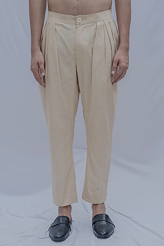 Cream Pleated Trousers by Bohame Men
