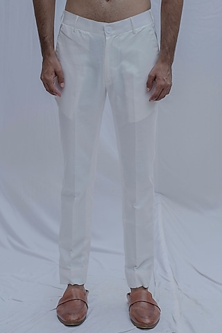 White Cotton Linen Pants by Bohame Men