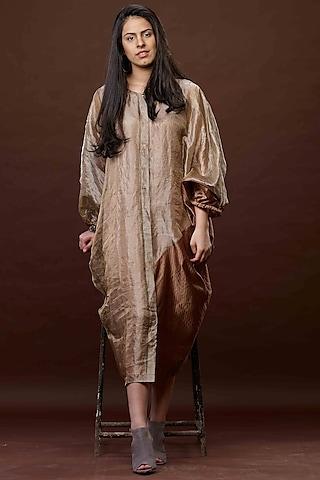 Bronze Gauze Zari Dress With Slip by Bodhi Tree