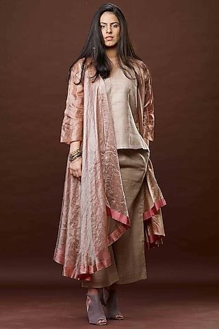 Bronze Gauze Zari Textured Jacket Set by Bodhi Tree