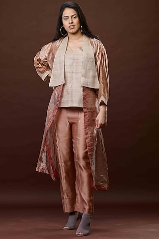 Bronze & Beige Zari Jacket Set by Bodhi Tree