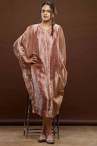 Pink & Beige Gauze Zari Dress With Slip by Bodhi Tree