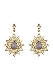 Gold Finish Kundan Dangler Earrings by THE BOHEMIAN