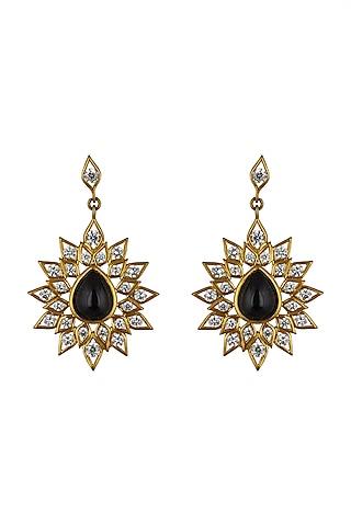 Gold Finish Green Kundan Earrings by THE BOHEMIAN
