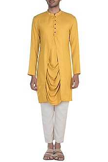 Yellow Cowl Draped Kurta by Bohame