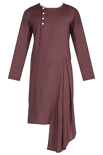 Brown Side Pleated Kurta by Bohame