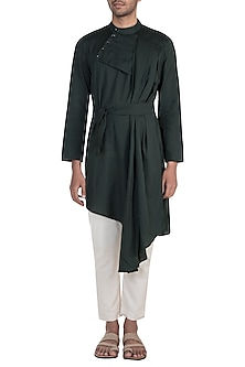Black Draped Tie-Up Kurta by Bohame
