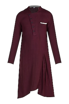 Maroon Kurta With Front Button by Bohame
