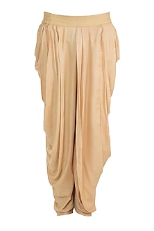 Beige Cotton Dhoti Pants by Bohame