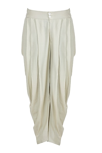 Cream Cotton Dhoti Pants by Bohame
