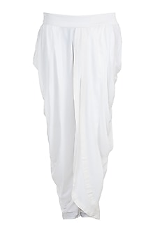 White Cotton Dhoti Pants by Bohame