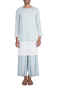 Blue & White Kurta With Shoulder Buttons by Bohame