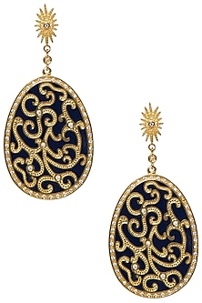 Royal Blue Fat Filigree Earrings by The Bohemian