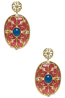 Coral and Blue Oval Heart Filigree Earring by The Bohemian