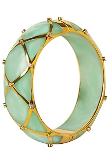 Pistachio and Gold Ribbon Facet Bangle by The Bohemian
