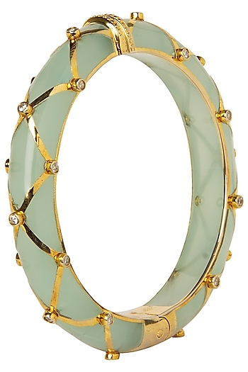 Sea Green and Gold Ribbon Facet Bangle by The Bohemian