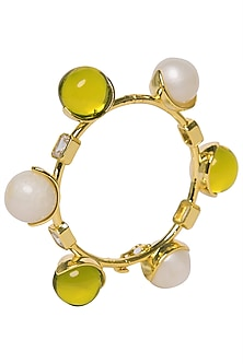 White and Green Zircon Ball Bangle by The Bohemian