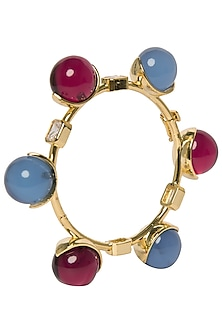 Blue and Red Zircon Ball Bangle by The Bohemian