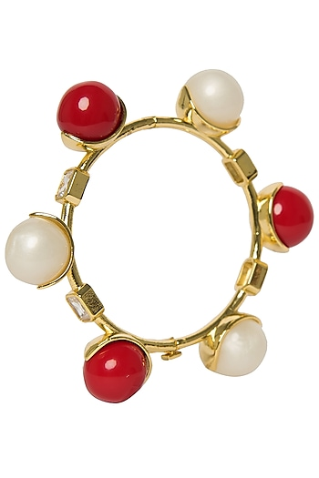 White and Red Zircon Ball Bangle by The Bohemian
