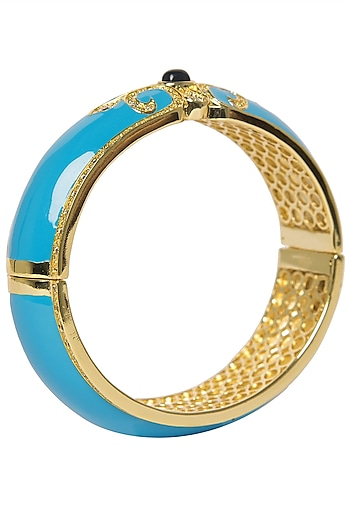 Turquoise Blue Vintage Detailed Bangle by The Bohemian