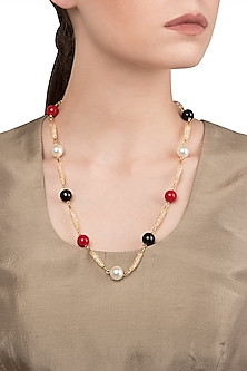 Gold Plated Multi-Coloured Zircon Necklace by The Bohemian