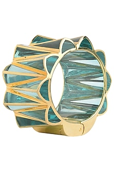 Aqua Blue and Gold Zigzag Bangle by The Bohemian