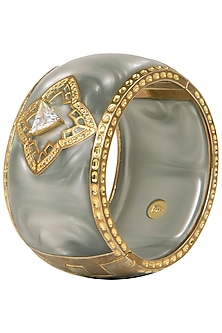 Gold Plated Grey Ellipsis Bangle by The Bohemian