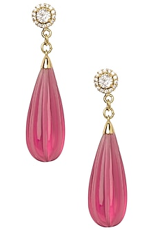Gold Plated Pink Pumpkin Drop Earrings by The Bohemian