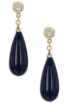 Gold Plated Navy Blue Pumpkin Drop Earrings by The Bohemian