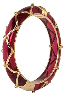 Wine and Gold Ribbon Facet Bangle by The Bohemian