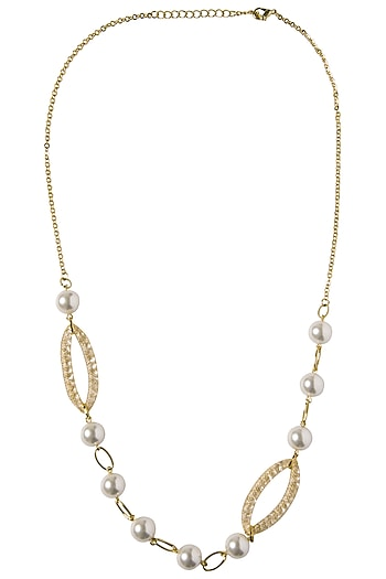 Gold Plated Zircon and Pearls Necklace by The Bohemian