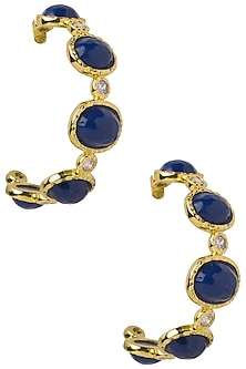 Navy Blue Frida Hoop Earrings by The Bohemian