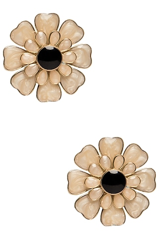 Gold Plated White and Black Layered Flower Stud Earrings by The Bohemian