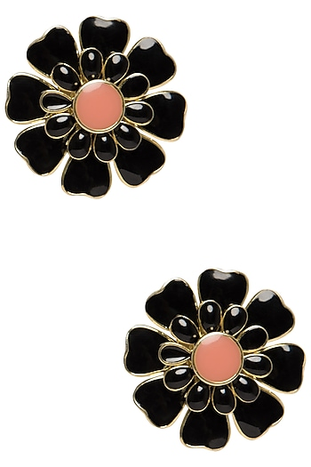 Gold Plated Black and Pink Layered Flower Stud Earrings by The Bohemian