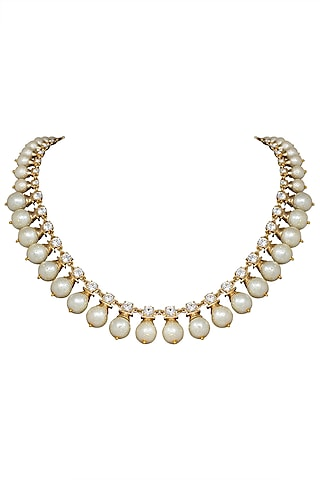 Gold Plated White Pearl Queen Necklace by The Bohemian