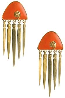 Gold Plated Orange Enamel Hanging Earrings by The Bohemian