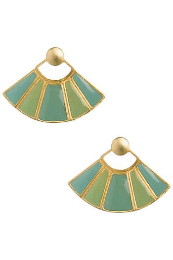 Gold Plated Green and Turquoise Enamel Earrings by The Bohemian