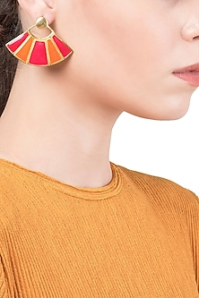 Gold Plated Red and Orange Enamel Earrings by The Bohemian