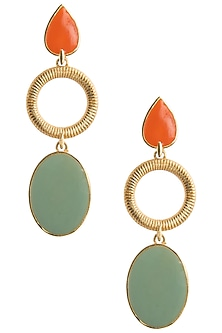 Gold Plated Orange and Green Enamel Drop Earrings by The Bohemian