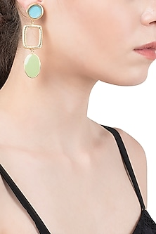 Gold Plated Turquoise and Green Enamel Drop Earrings by The Bohemian