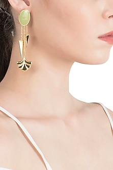 Gold Plated Green Enamel Hanging Earrings by The Bohemian